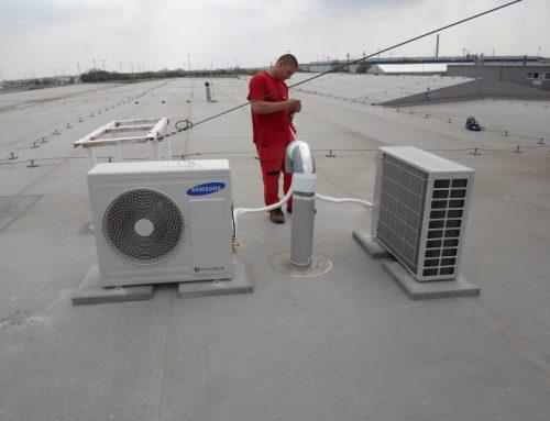 Montáž klimatizačných zariadení – Výrobná hala – Galanta – SAMSUNG kazeta